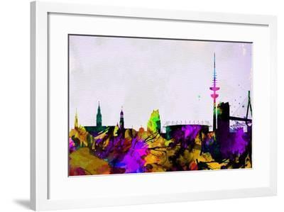 Hamburg City Skyline-NaxArt-Framed Art Print