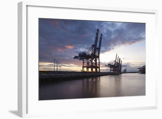 Hamburg, Container Terminal, Harbour Cranes-Catharina Lux-Framed Photographic Print