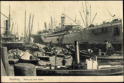 Hamburg, Hafen, Dampfer Christine and I.H. Königslieb--Giclee Print