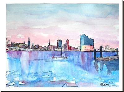 Hamburg Harbour City Elbphilharmonie-M Bleichner-Stretched Canvas Print