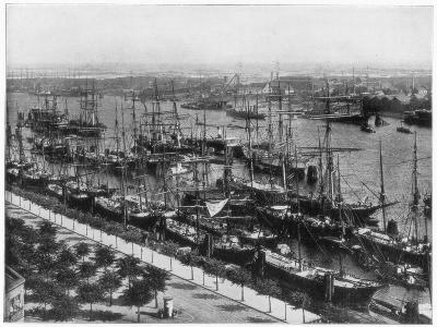 Hamburg Harbour, Germany, Late 19th Century-John L Stoddard-Giclee Print