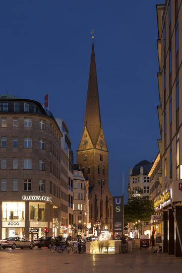 Hamburg, Jungfernstieg, St. Peter's Church, Dusk-Catharina Lux-Photographic Print