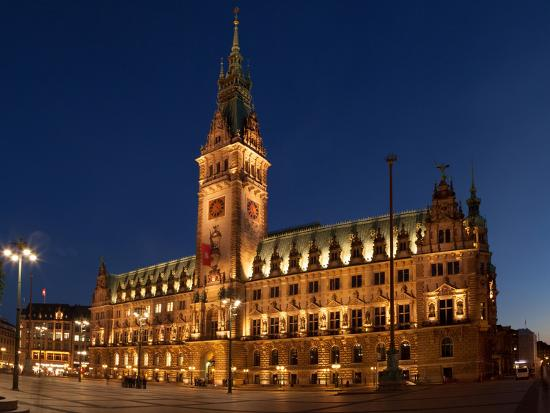 Hamburg, Panorama, City Hall Market, in the Evening-Catharina Lux-Photographic Print