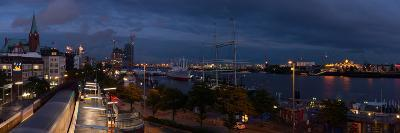 Hamburg, Panorama, Landing Stages, in the Evening-Catharina Lux-Photographic Print
