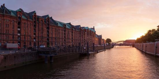 Hamburg, Panorama, Speicherstadt (City of Warehouses), Dusk-Catharina Lux-Photographic Print