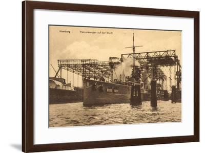 Hamburg, Panzerkreuzer Auf Der Werft--Framed Giclee Print