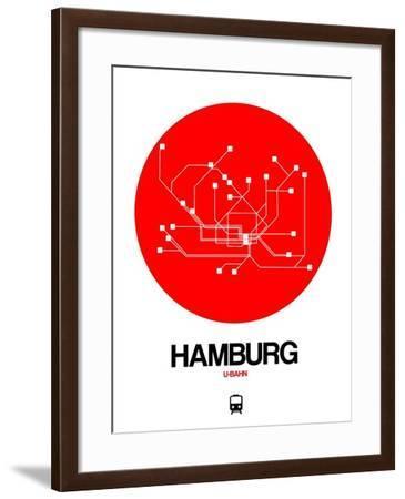 Hamburg Red Subway Map-NaxArt-Framed Art Print