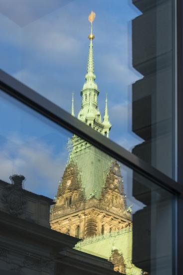 Hamburg, Reflection City Hall Tower-Catharina Lux-Photographic Print