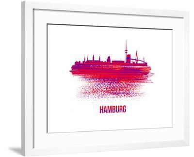 Hamburg Skyline Brush Stroke - Red-NaxArt-Framed Art Print