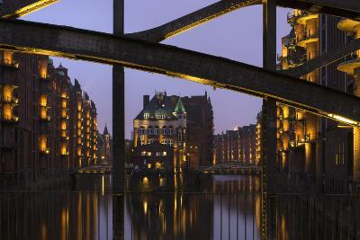 Hamburg, Speicherstadt (City of Warehouses), Dusk, PoggenmŸhlenbrŸcke (Bridge)-Catharina Lux-Photographic Print