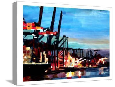 Hamburghafen-M Bleichner-Stretched Canvas Print