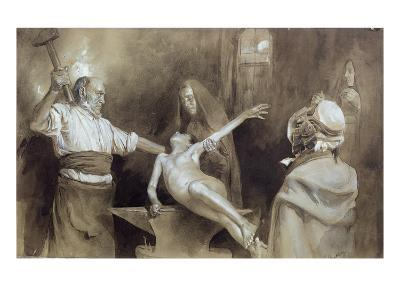 Hammering the Spleen (Pencil and Wash on Paper)-Gaston Vuillier-Giclee Print