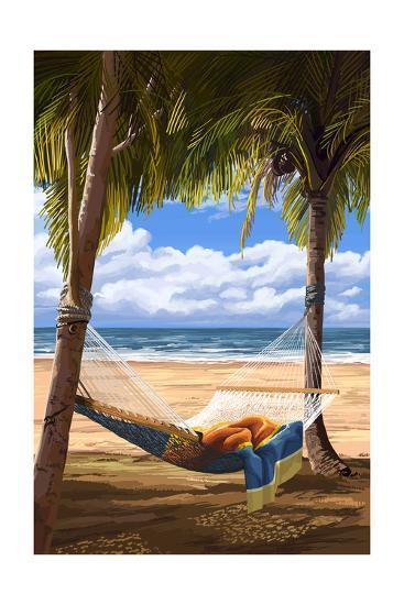 Hammock and Palms-Lantern Press-Art Print
