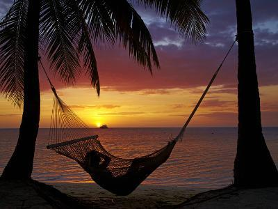 Hammock and Sunset, Plantation Island Resort, Malolo Lailai Island, Mamanuca Islands, Fiji-David Wall-Photographic Print