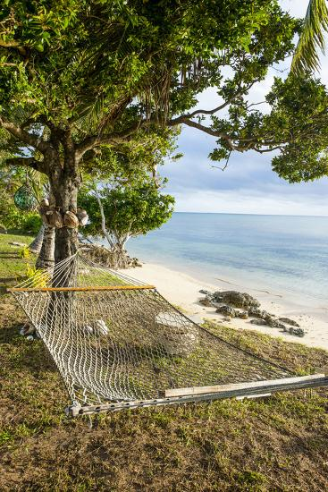 Hammock on a Beach in Ha'Apai, Tonga, South Pacific-Michael Runkel-Photographic Print