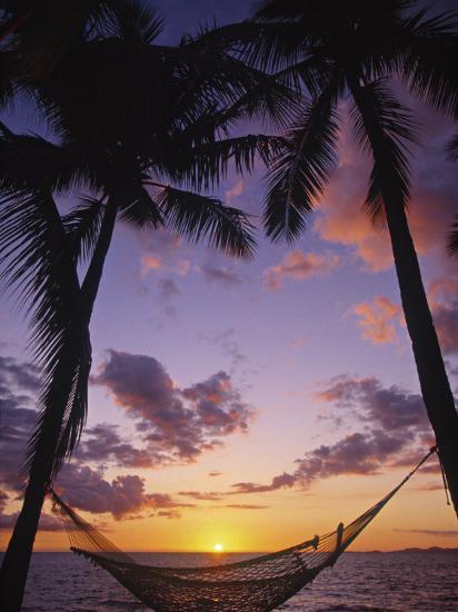 Hammock on Beach, Danarau, Viti Levu, Fiji-Neil Farrin-Photographic Print