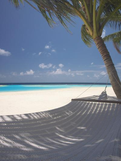 Hammock on Beach, Maldives, Indian Ocean, Asia-Sakis Papadopoulos-Photographic Print