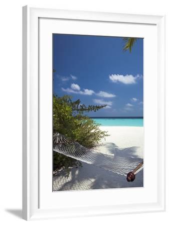 Hammock on Tropical Beach, Maldives, Indian Ocean, Asia-Sakis Papadopoulos-Framed Photographic Print