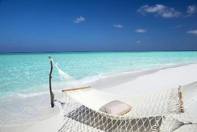 Hammock on Tropical Beach, Maldives, Indian Ocean, Asia-Sakis Papadopoulos-Photographic Print