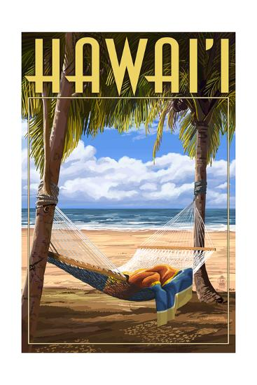 Hammock Scene - Hawaii-Lantern Press-Art Print