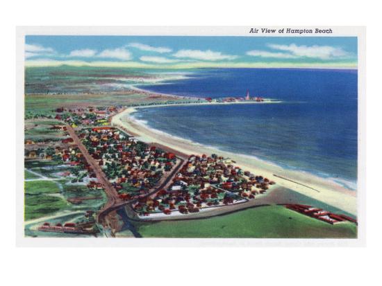 Hampton Beach, New Hampshire, Aerial View of the City-Lantern Press-Art Print