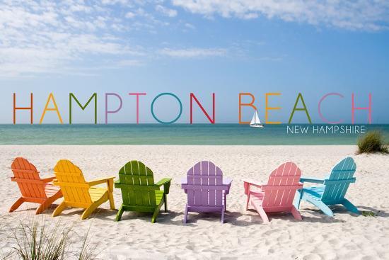 Hampton Beach, New Hampshire - Colorful Beach Chairs-Lantern Press-Wall Mural