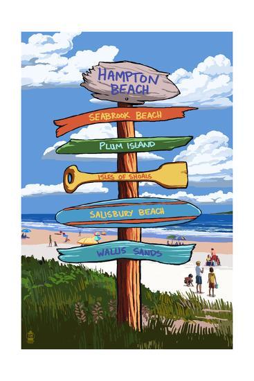 Hampton Beach, New Hampshire - Destination Signpost-Lantern Press-Art Print