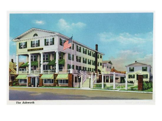 Hampton Beach, New Hampshire, Exterior View of the Ashworth-Lantern Press-Art Print