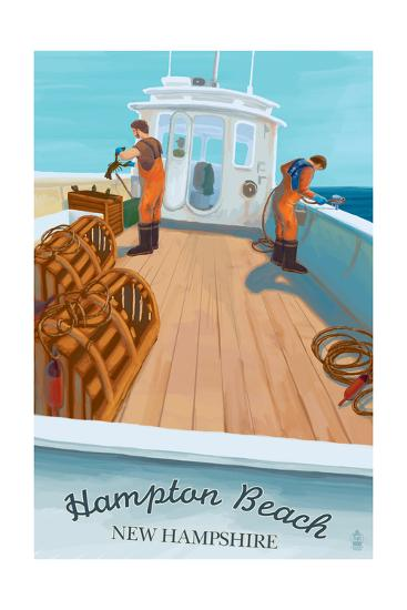 Hampton Beach, New Hampshire - Lobster Boat-Lantern Press-Art Print