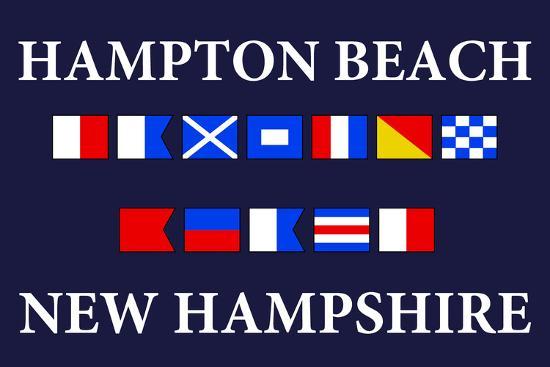 Hampton Beach, New Hampshire - Nautical Flags-Lantern Press-Art Print