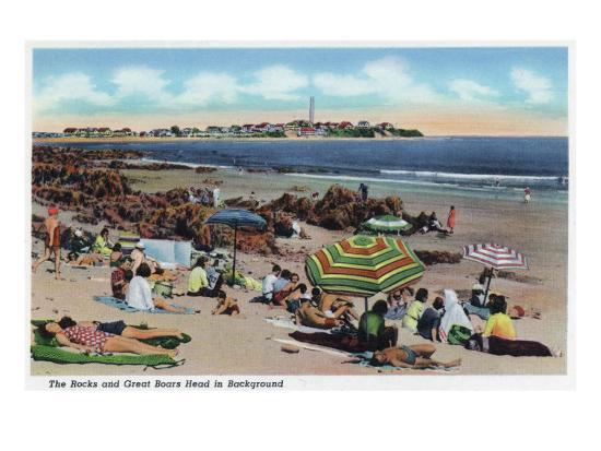Hampton Beach, NH, View of the Rocks and Great Boars Head from Beach-Lantern Press-Art Print