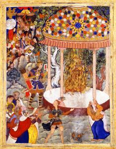 Hamza Burns Zarthust's Chest and Shatters the Urn with His Ashes (From the Hamzanam), C. 1570