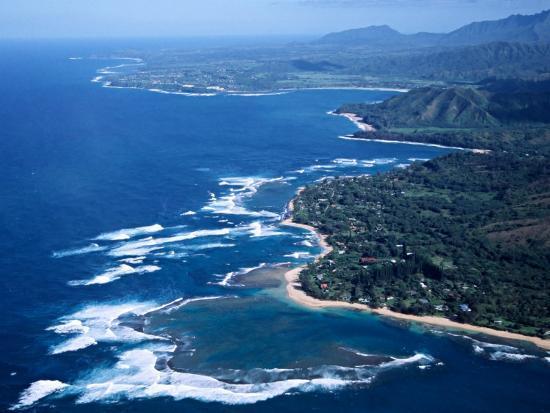 Hanalei Bay and the Distant Princeville Hotel, Kauai, Hawaii, USA-Charles Sleicher-Photographic Print