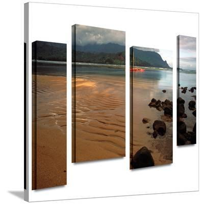 Hanalei Bay at Dawn 4 piece gallery-wrapped canvas-Kathy Yates-Gallery Wrapped Canvas Set
