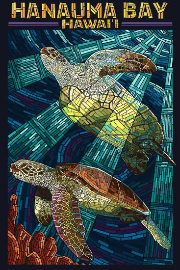 Hanauma Bay, Hawai'i - Sea Turtle - Mosaic-Lantern Press-Wall Mural