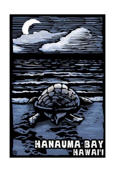 Hanauma Bay, Hawai'i - Sea Turtle - Scratchboard-Lantern Press-Art Print