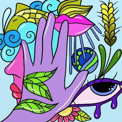 Hand and Fish-goccedicolore-Art Print