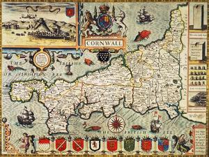 "Hand-Coloured Map of Cornwall from the 1627 Edition of ""Theatre of the Empire of Great Britain"""