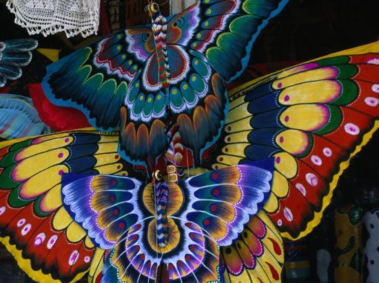 Hand-Crafted Butterfly Kites for Sale, Gianyar, Indonesia-Paul Beinssen-Photographic Print