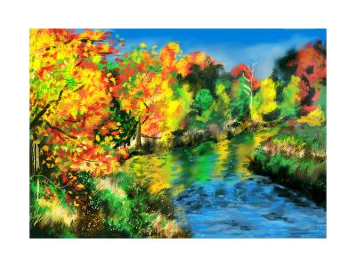 Hand Draw Autumn Forest-jim80-Art Print