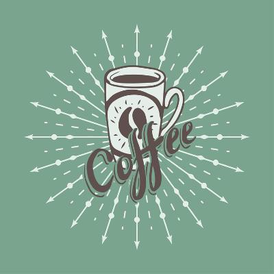 Hand Drawn Background with Coffee Mug-Ms Moloko-Art Print