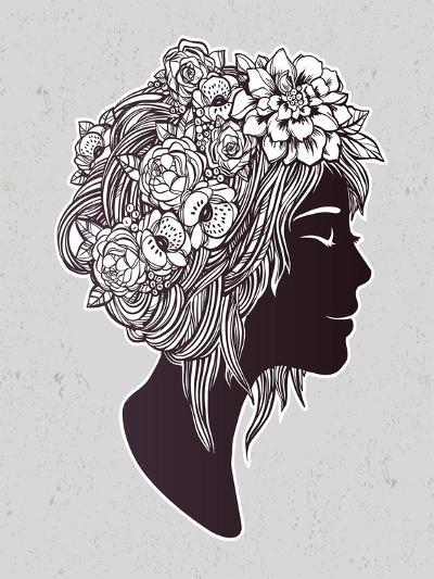 Hand Drawn Beautiful Artwork of a Girl Head with Decorative Hair and Romantic Flowers on Her Head.-Katja Gerasimova-Art Print