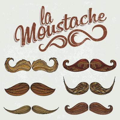 Hand Drawn Brown Mustache Set-Melindula-Art Print