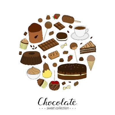 Hand Drawn Chocolate Products in Circle Shape. Cocoa, Chocolate Cake, Cupcake, Bundt, Ice Cream, Ca-Minur-Art Print
