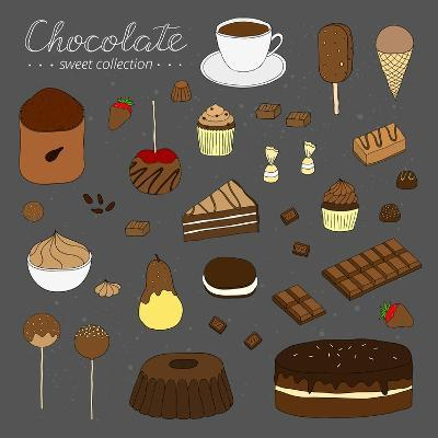 Hand Drawn Chocolate Products Isolated on Chalkboard. Cocoa, Chocolate Cake, Cupcake, Bundt, Ice Cr-Minur-Art Print