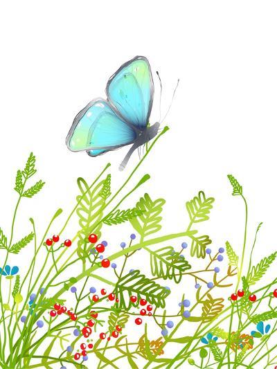 Hand Drawn Delicate Blue Butterfly Sitting on Grass. Aquamarine Butterfly Sitting in Field on Flowe-Popmarleo-Art Print