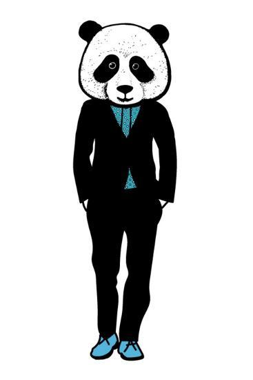 Hand Drawn Fashion Illustration of Panda Hipster in a Black Suit With. City Style, Hipster Look, Ve- redboxart-Art Print