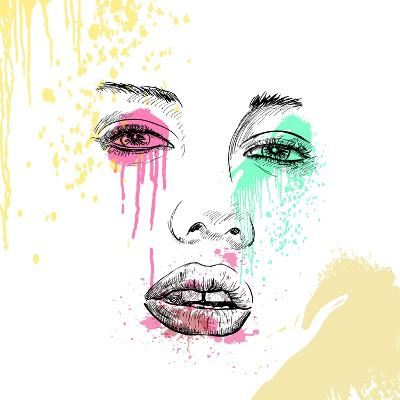 Hand-Drawn Fashion Model Portrait. Vector Illustration.-AlisaRed-Art Print