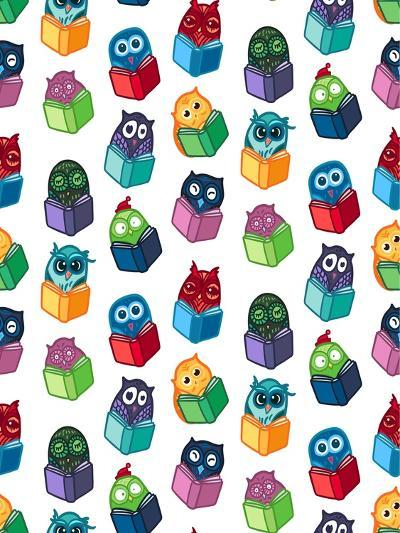 Hand Drawn Funny Owl with Book Seamless Pattern. Owls Learning Subject for Print, Fabric, Wrap and-BarsRsind-Art Print