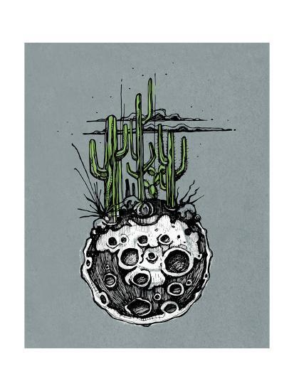 Hand Drawn Illustration or Drawing of a Moon with Some Cactus and Desert Plants on It-bernardojbp-Art Print